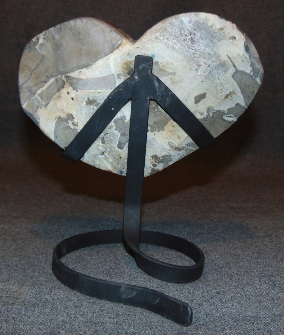Large Heart Shaped Amethyst Crystal Geode on Iron Stand - 5