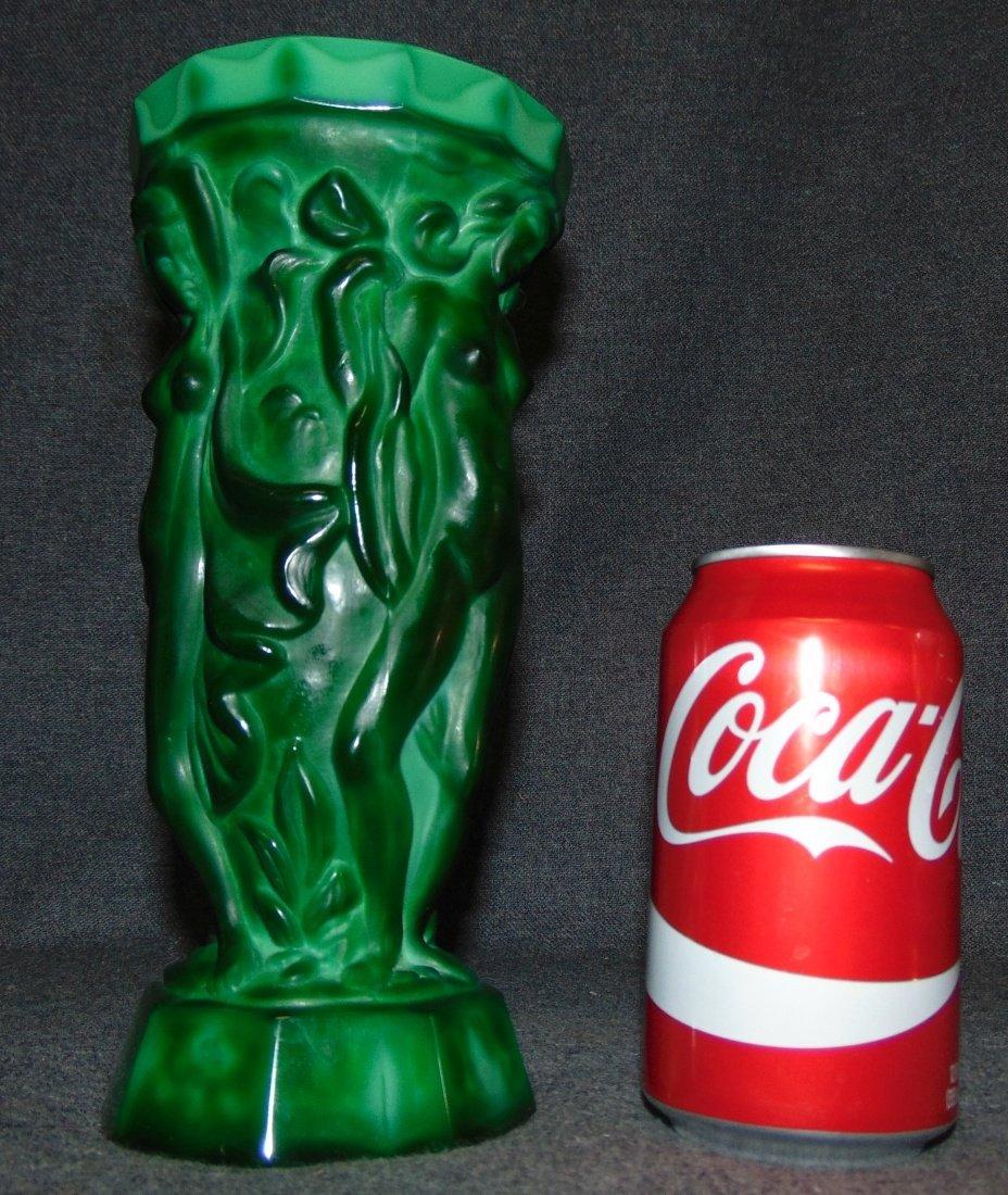 Czech Bohemian Malachite Crystal Glass Art Deco Vase