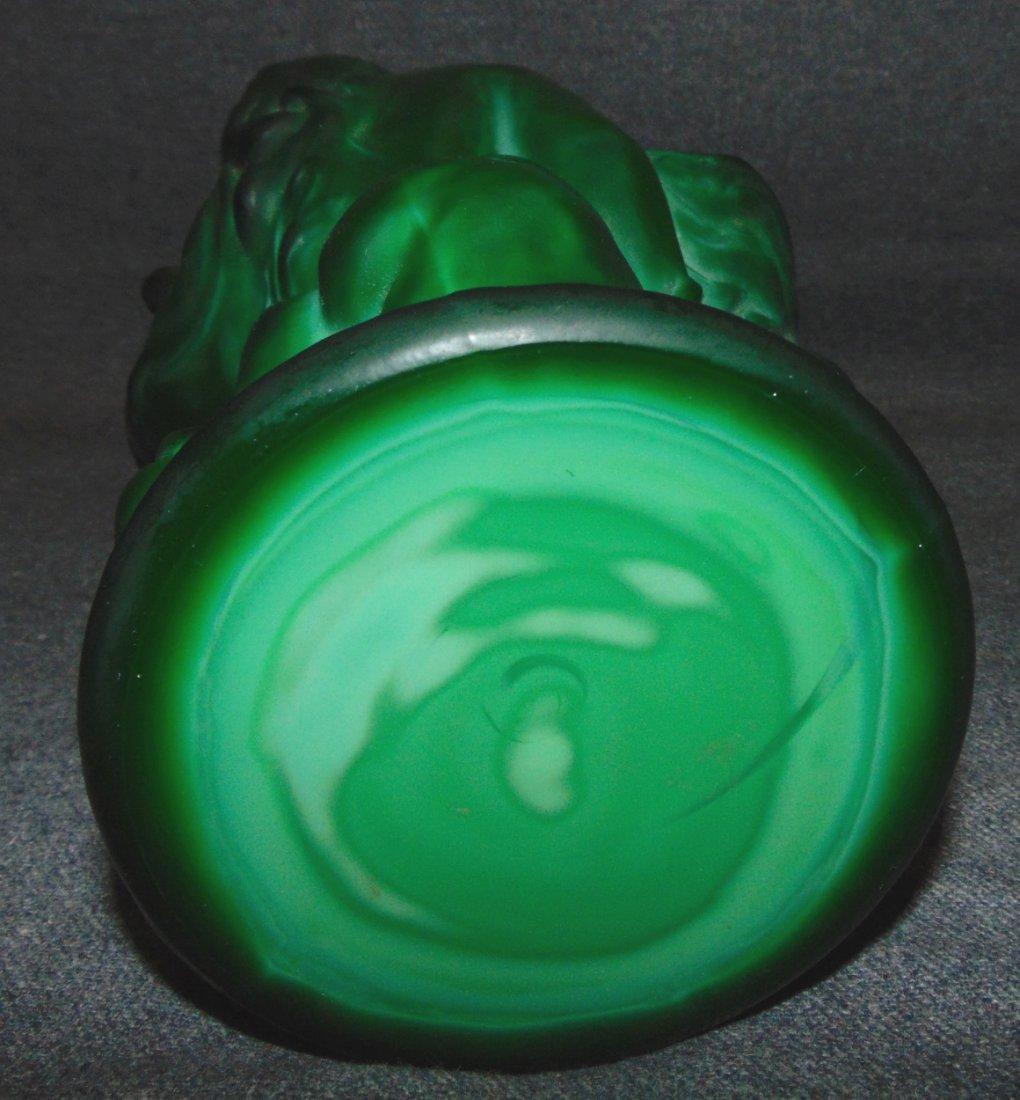 Czech Bohemian Malachite Crystal Glass Art Deco Vase - 4