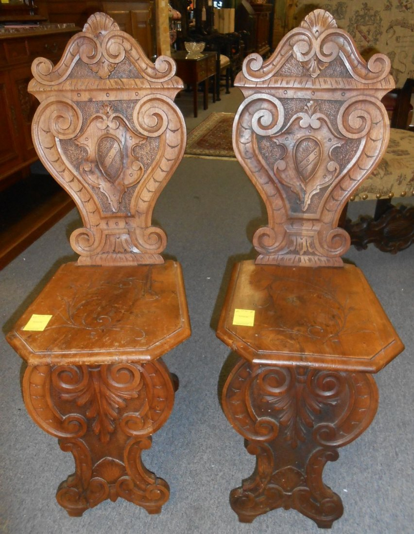 Pair Antique Italian Carved Walnut Sgabello Hall Chairs