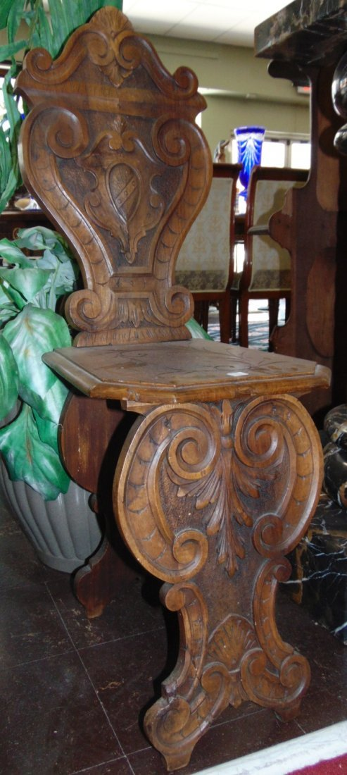 Pair Antique Italian Carved Walnut Sgabello Hall Chairs - 2