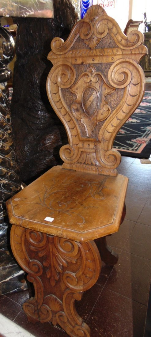 Pair Antique Italian Carved Walnut Sgabello Hall Chairs - 3