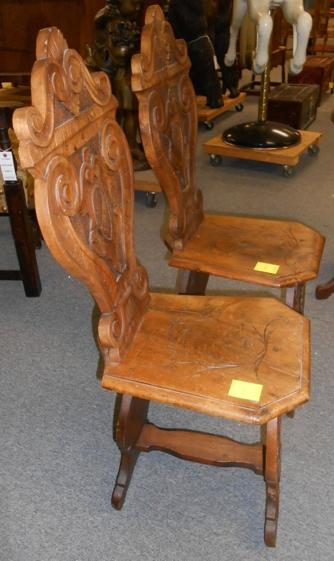 Pair Antique Italian Carved Walnut Sgabello Hall Chairs - 5