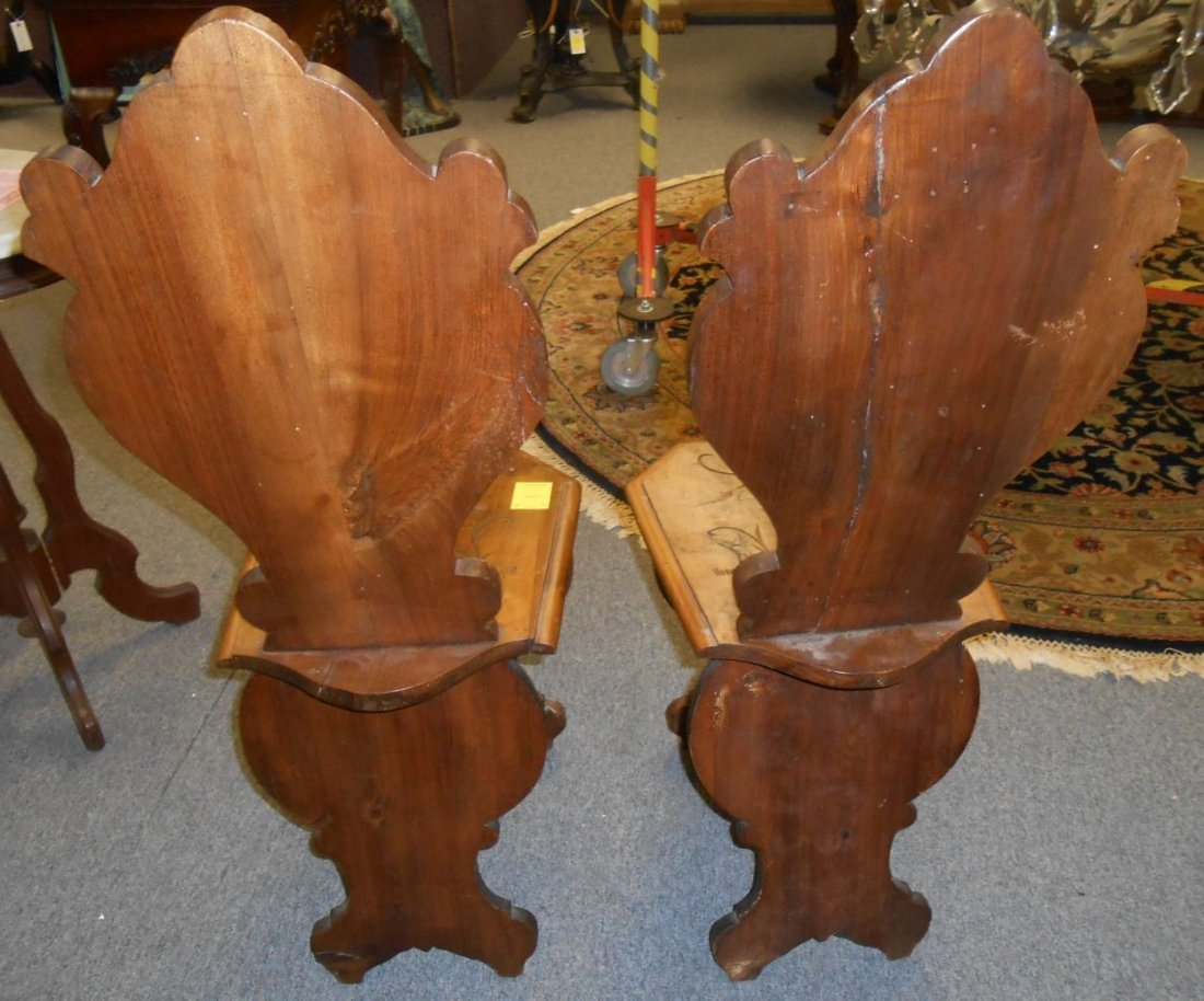 Pair Antique Italian Carved Walnut Sgabello Hall Chairs - 6