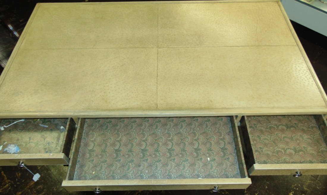 Faux Ostrich Leather Writing Desk - 10