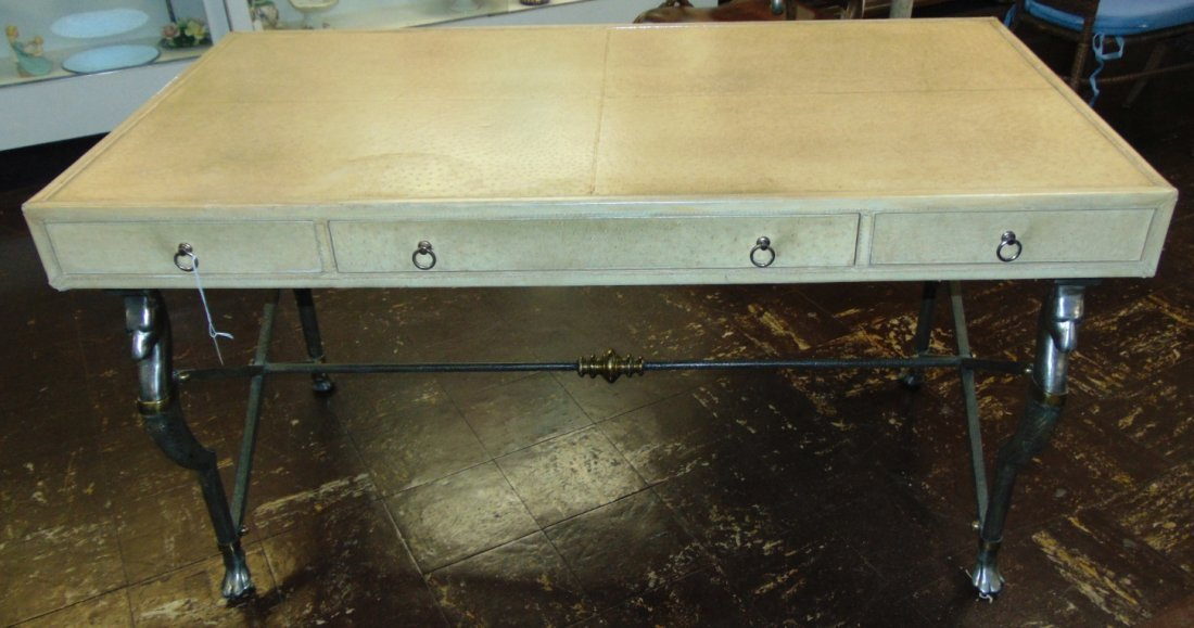 Faux Ostrich Leather Writing Desk