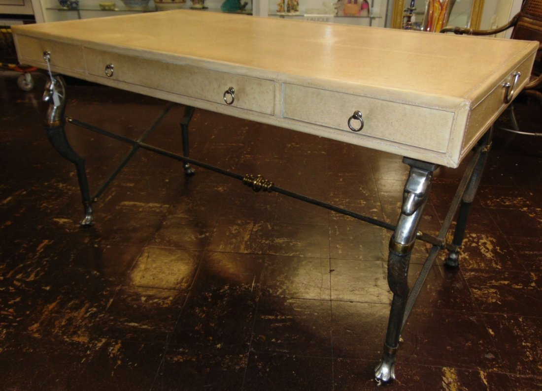Faux Ostrich Leather Writing Desk - 2