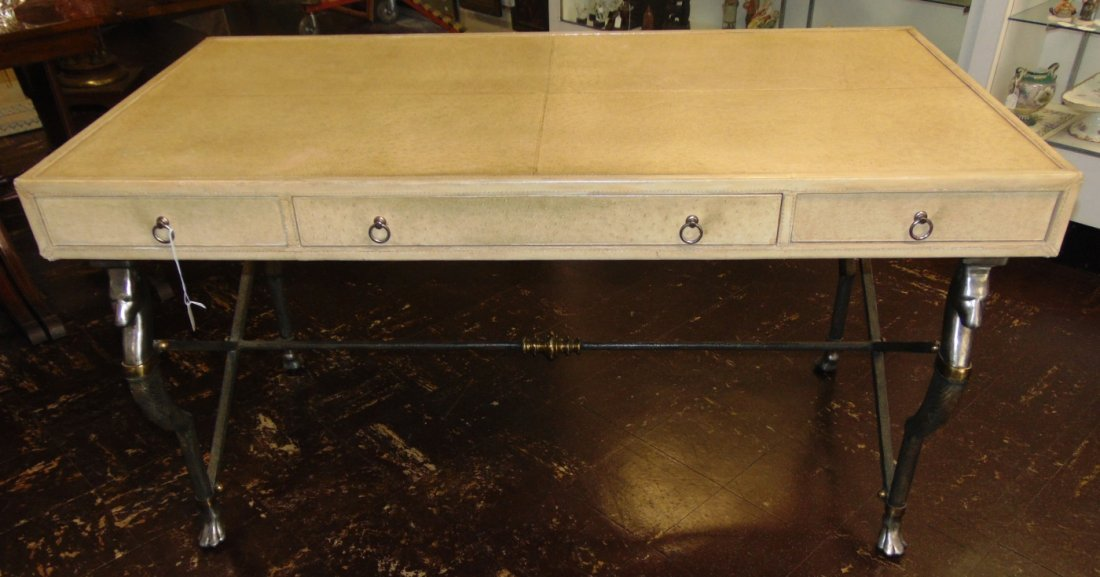 Faux Ostrich Leather Writing Desk - 3