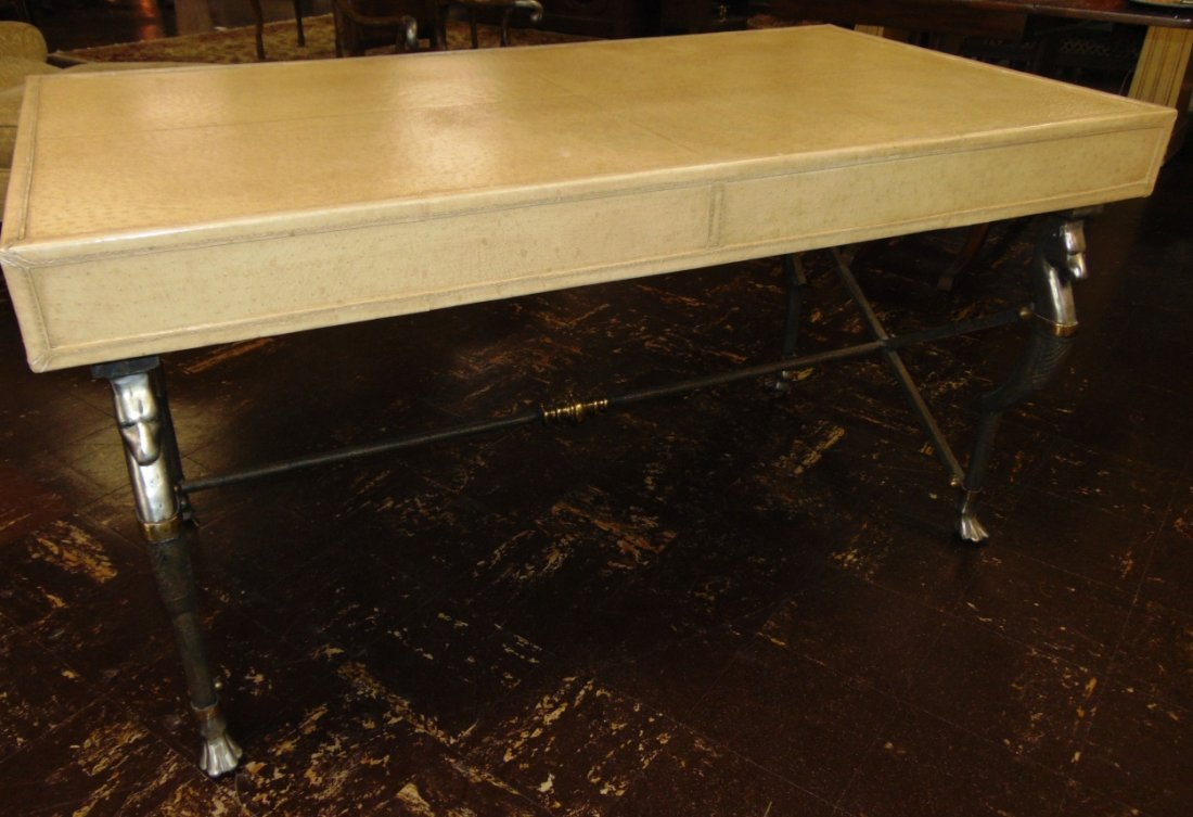 Faux Ostrich Leather Writing Desk - 4