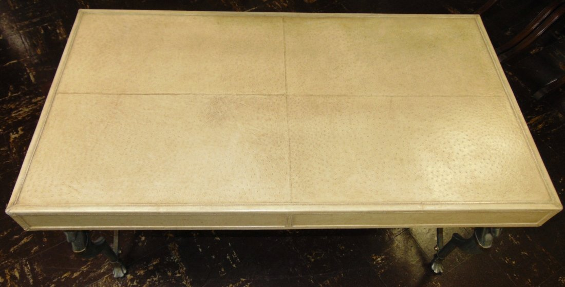 Faux Ostrich Leather Writing Desk - 6