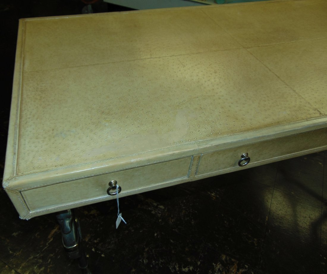 Faux Ostrich Leather Writing Desk - 8