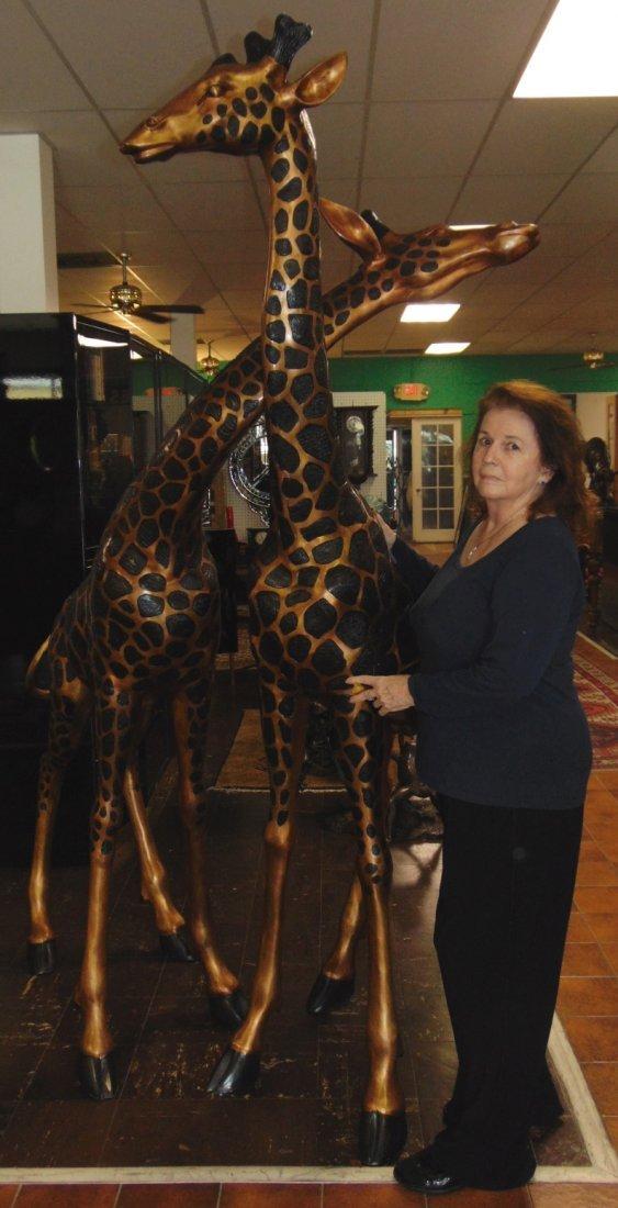2 Magnificent Bronze Giraffes