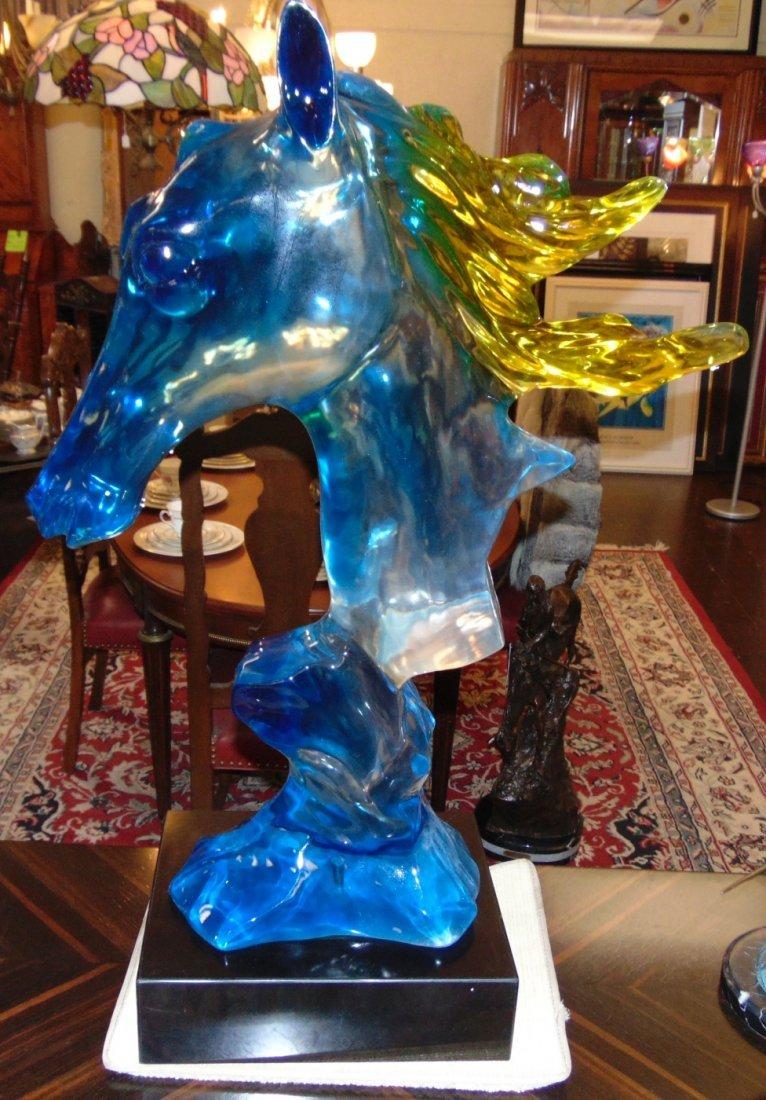 Multi Color Acrylic Horse Head Sculpture