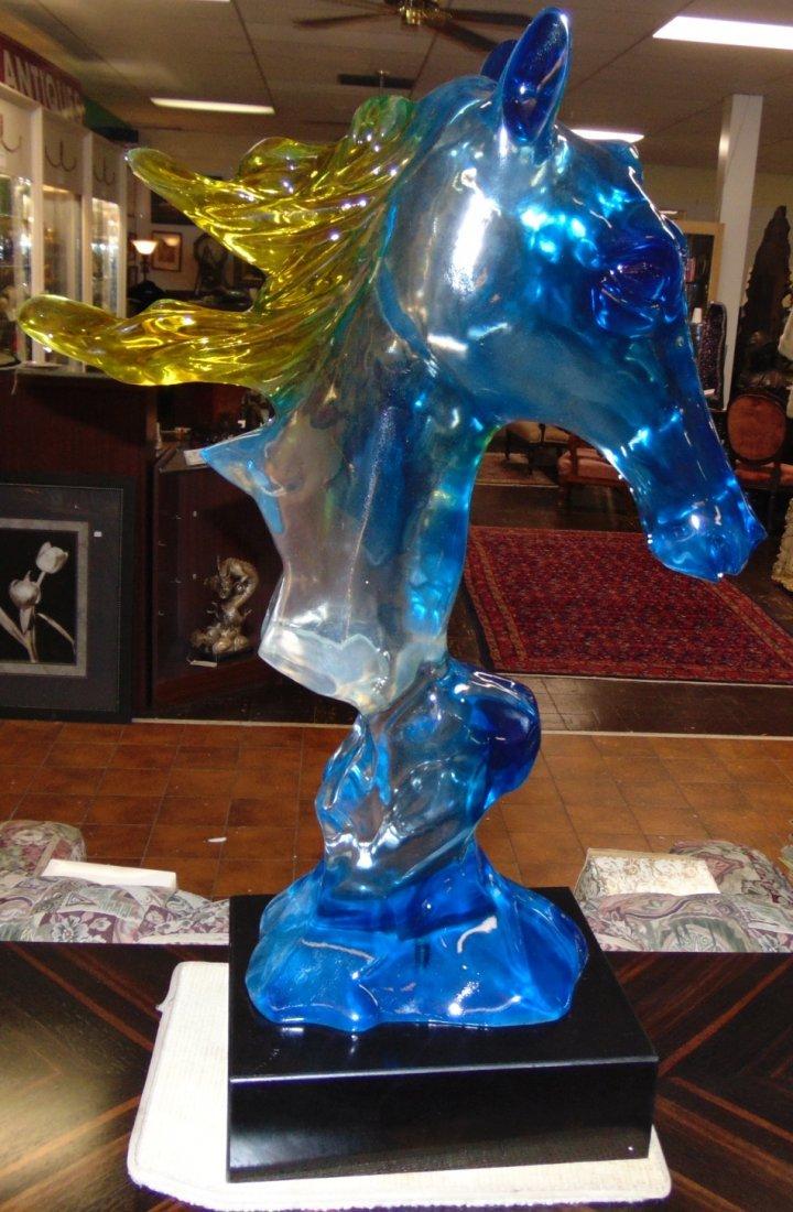 Multi Color Acrylic Horse Head Sculpture - 2