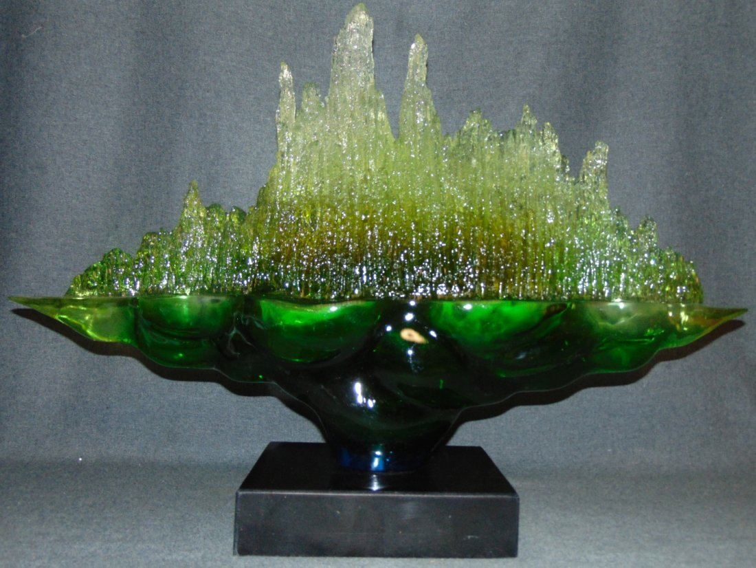 Contemporary Acrylic Sculpture on Marble Base - 2