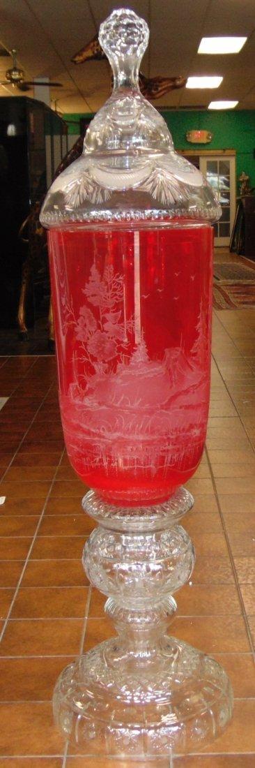 Monumental Bohemian Ruby Red Etched & Cut Floor Vase - 2