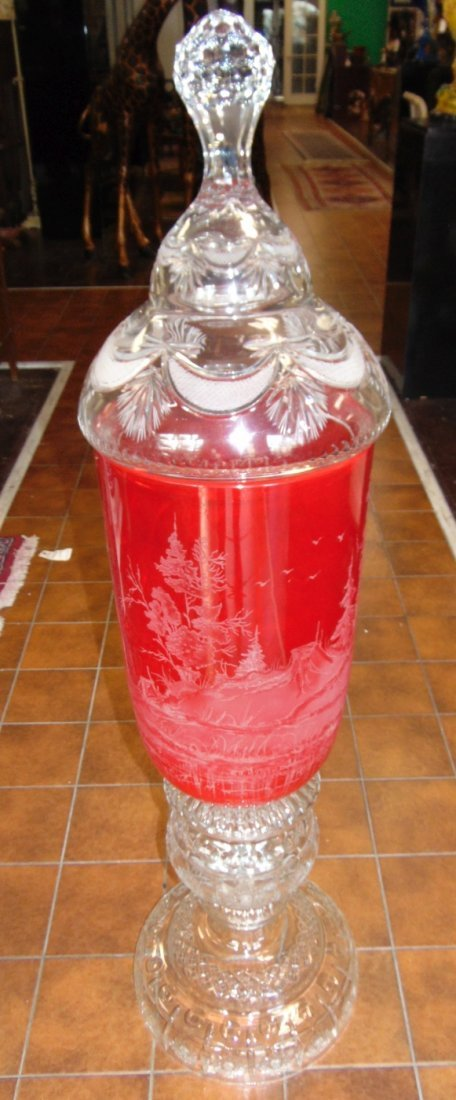 Monumental Bohemian Ruby Red Etched & Cut Floor Vase - 3