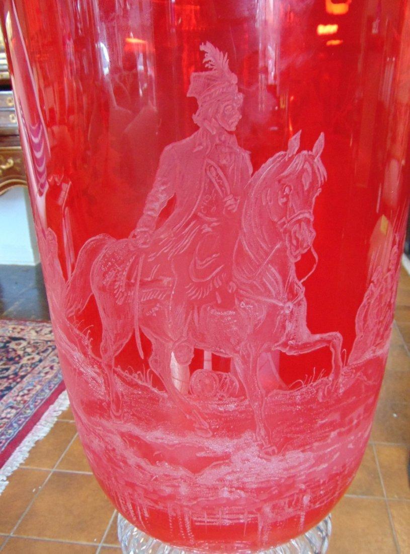 Monumental Bohemian Ruby Red Etched & Cut Floor Vase - 4