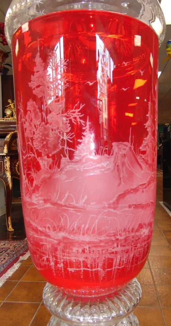 Monumental Bohemian Ruby Red Etched & Cut Floor Vase - 5