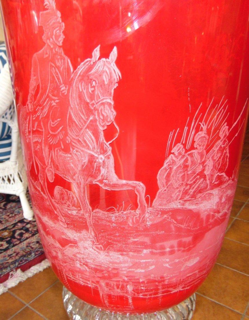 Monumental Bohemian Ruby Red Etched & Cut Floor Vase - 6