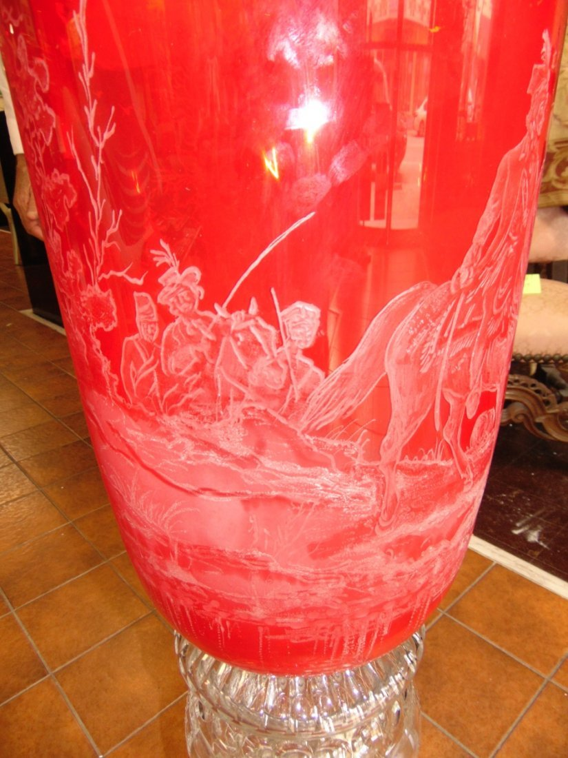 Monumental Bohemian Ruby Red Etched & Cut Floor Vase - 7