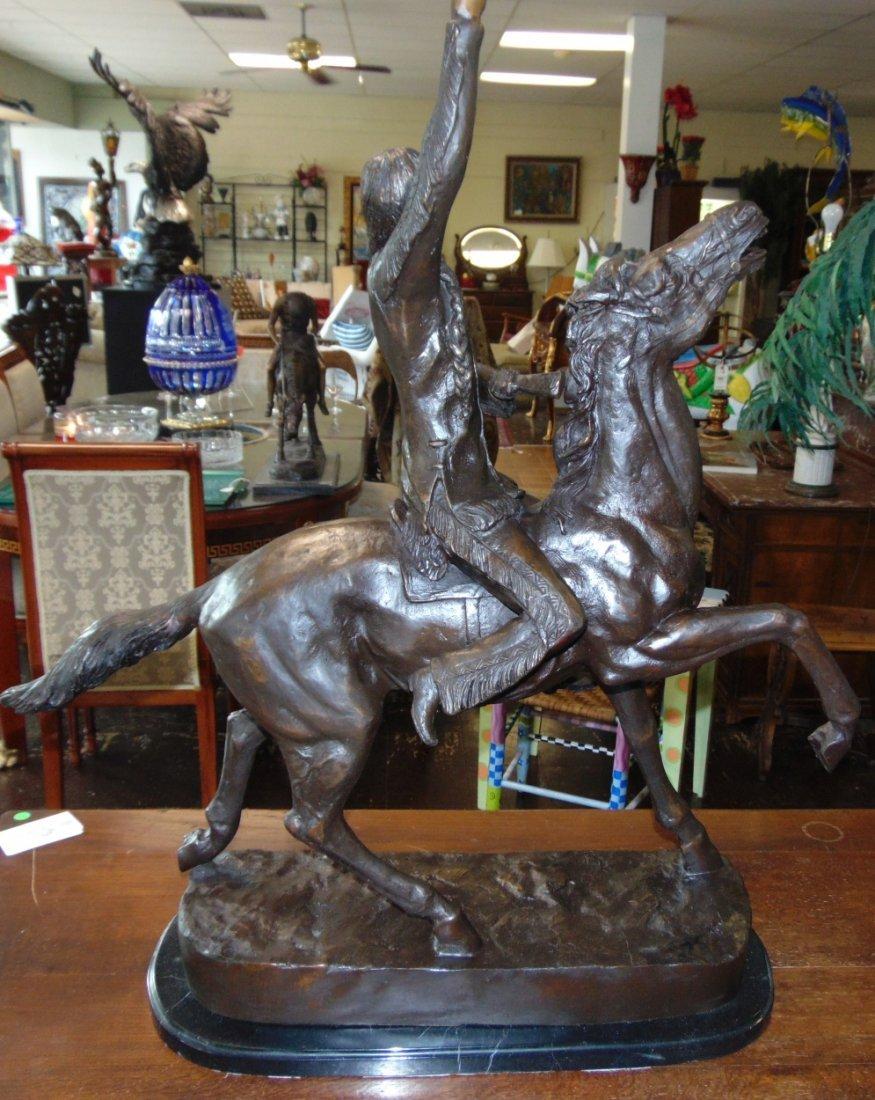 Large Bronze Western Bronze Buffalo Signal - 4