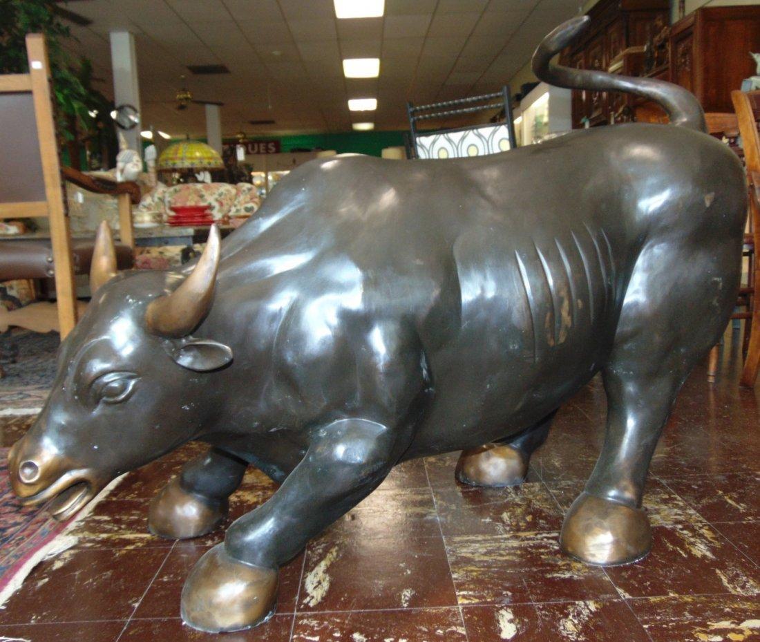 Wall Street Bronze Charging Bull Sculpture - 2