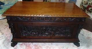 Antique Italian Renaissance Carved Walnut Desk