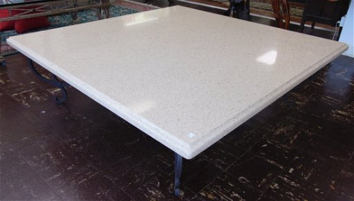 Large Marble Coffee Table With Wrought Iron Base