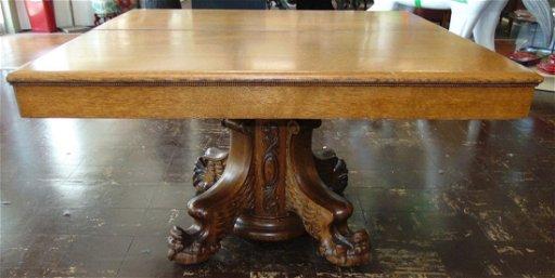 Antique Golden Oak Pedestal Dining Table