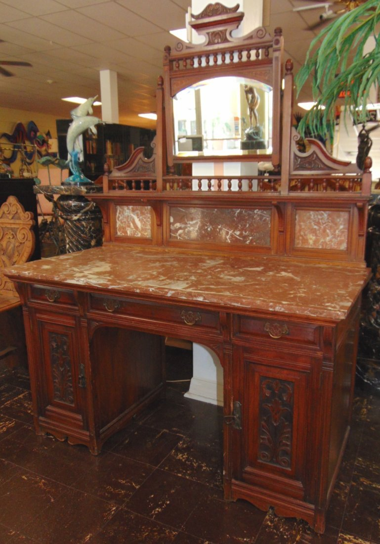 Antique Carved Walnut Marble Top Desk with Mirror