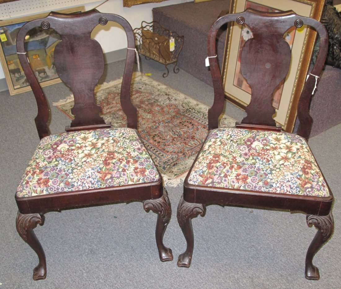 Antique Queen Anne Mahogany Chairs Tapestry Needlepoint