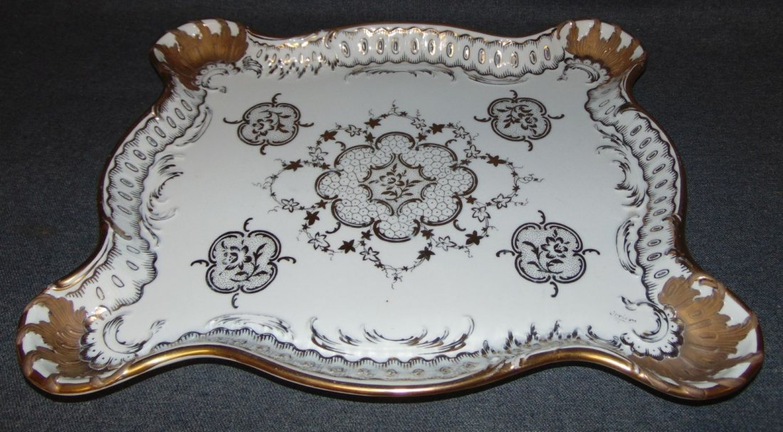 Large Hand Painted Antique Porcelain Platter