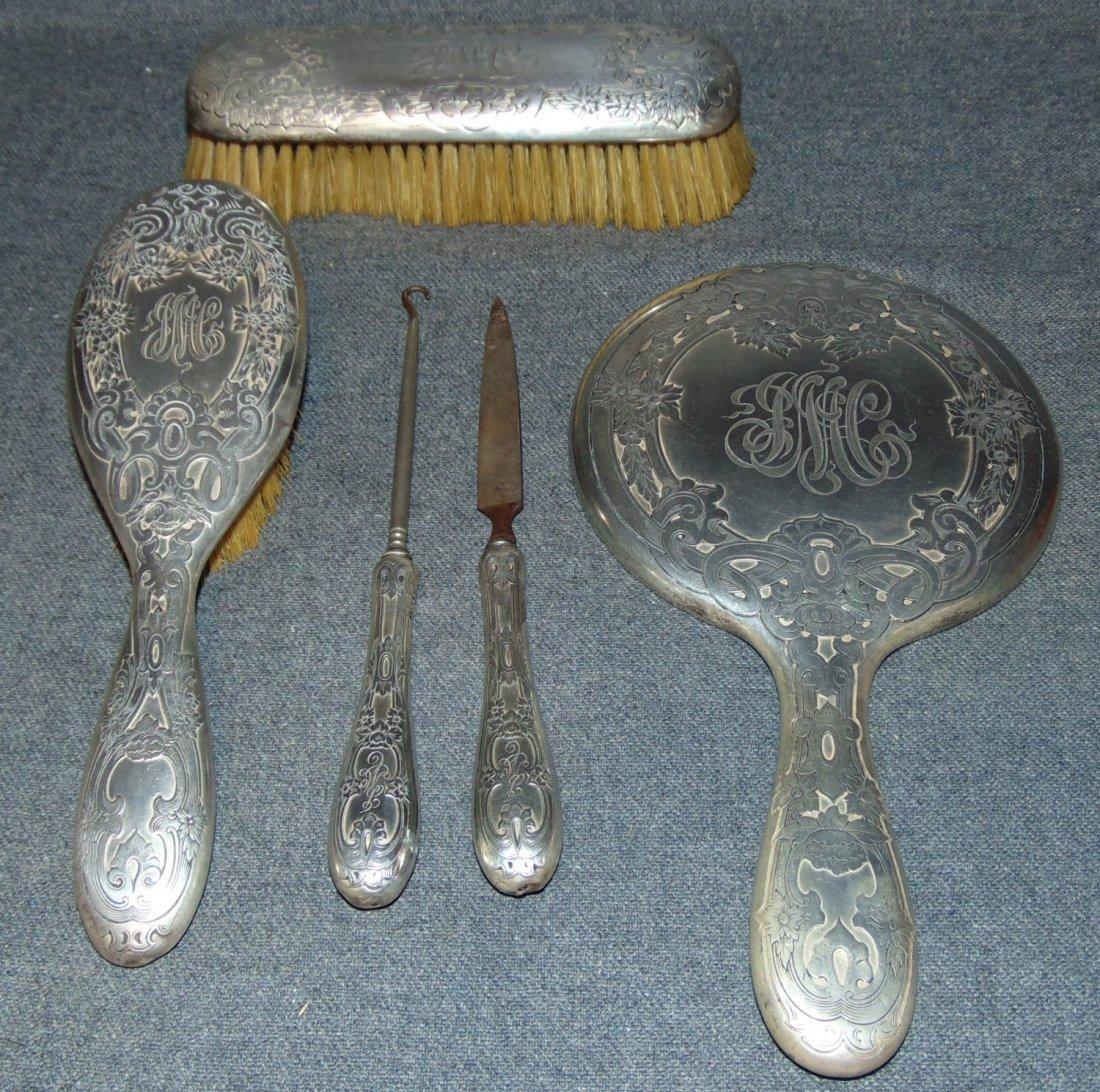 Gorham 4 piece Sterling Silver Vanity Set