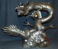 Silvered Bronze Dragon & Sphere Fountain Sculpture