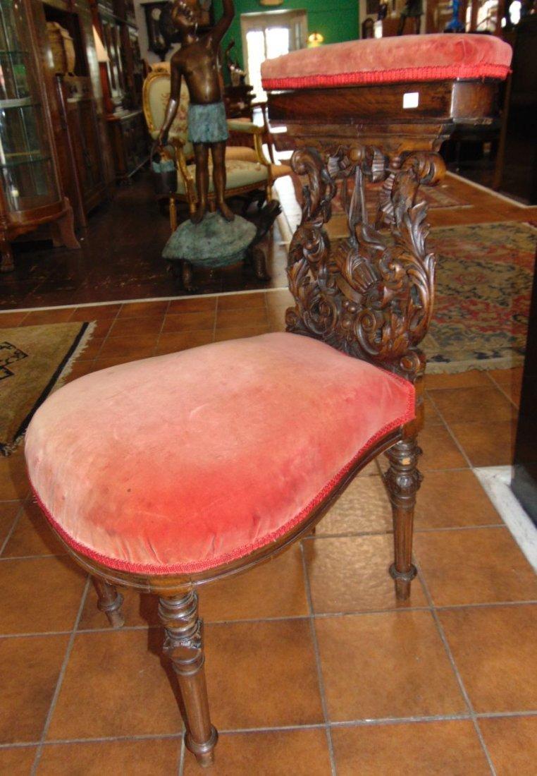 Antique Carved Walnut Prie Dieu Prayer Chair