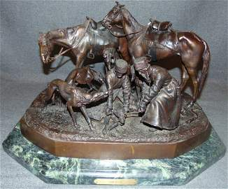 "Nicolas Liberich ""Hunting Party"" C. F. Woerffel Bronze"