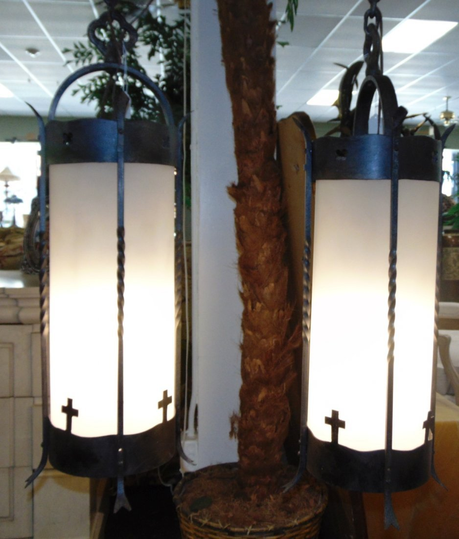 Pair (2) of Wrought Iron Gothic Hanging Light Fixtures