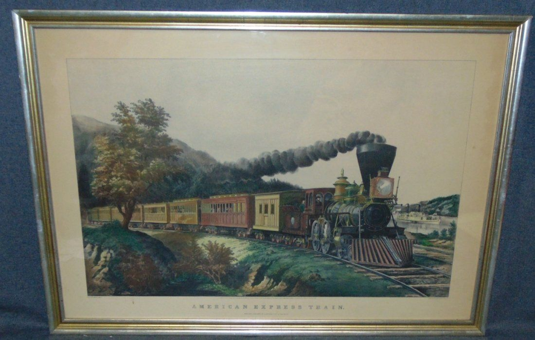 Framed Currier & Ives Lithograph American Express Train