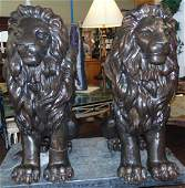 Pair (2) of Seated Bronze Lions