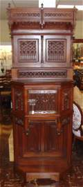 Antique Gothic Mahogany Tall Cabinet