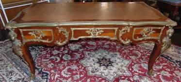Ornate Louis XV Leather Top Bureau Plat Desk