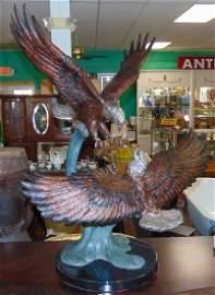 Bronze Double Eagle Sculpture on Marble Base