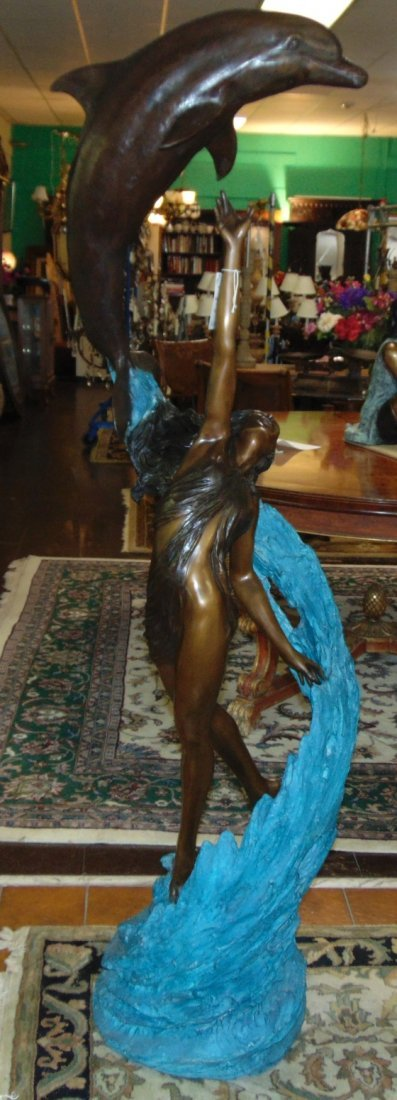 Bronze Woman and Dolphin Fountain Sculpture