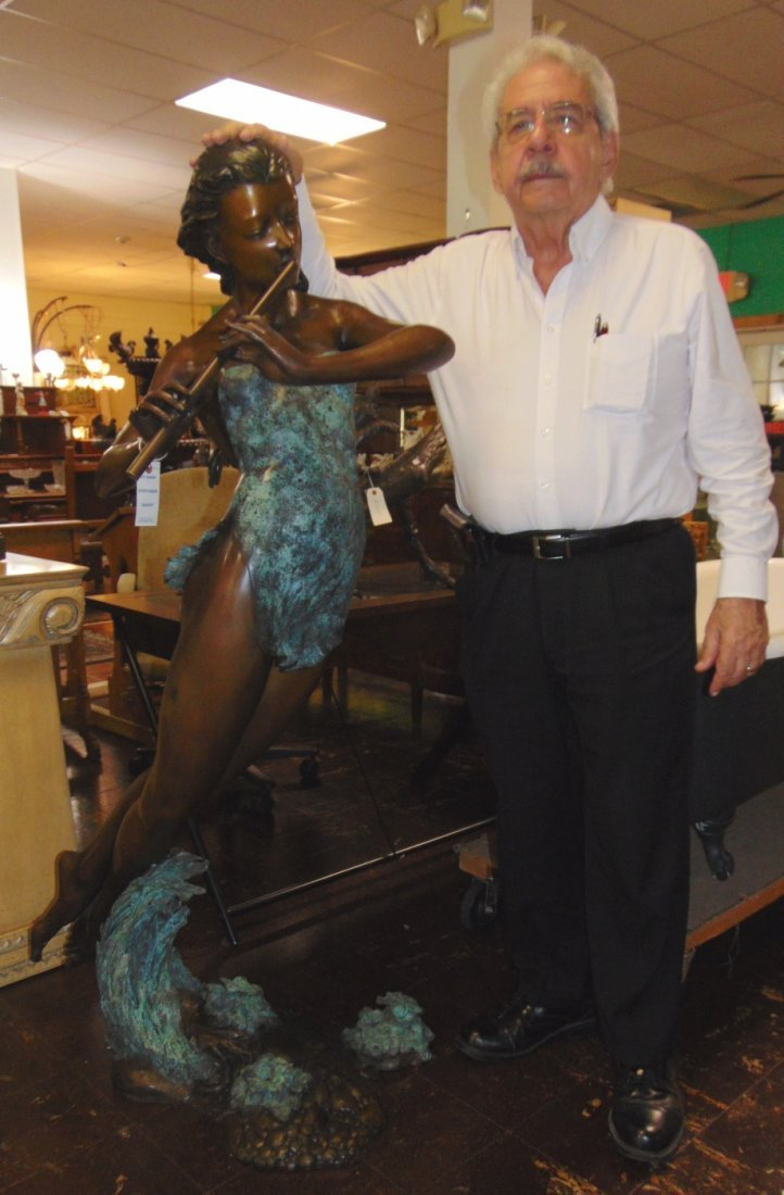 Bronze Girl with Flute Fountain Sculpture
