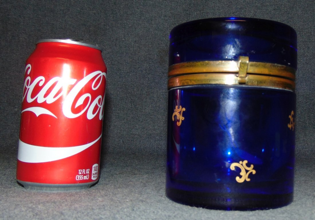Antique Cobalt Blue Glass Round Lidded Casket