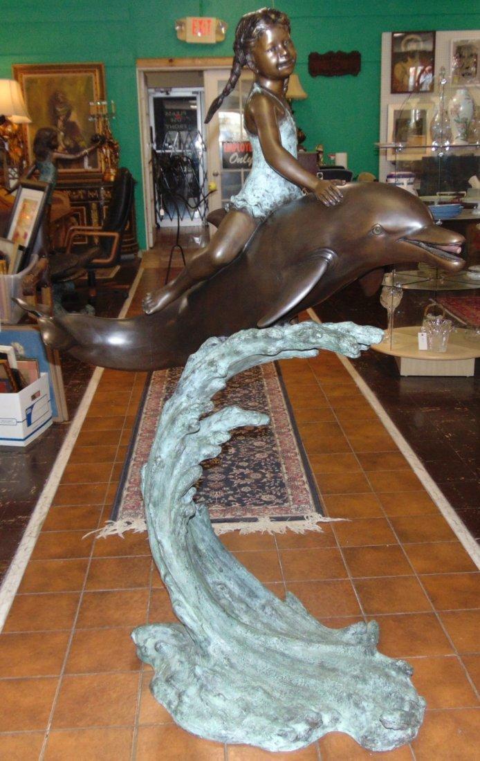 Bronze Girl on Dolphin Fountain Sculpture