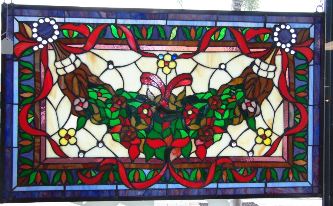 Custom Tiffany Style Stained Glass Hanging Panel