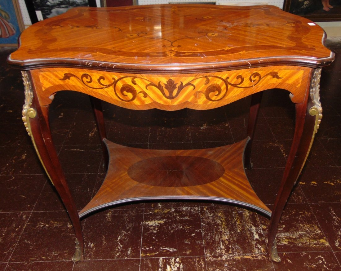 Antique French Inlaid Side Table