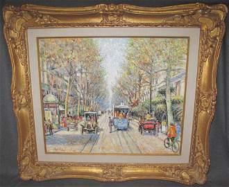 """Hugues Claude Pissarro """"Le Tramway Bleu"""""""